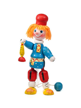 Russian wooden toy on a white background. Stock Photo