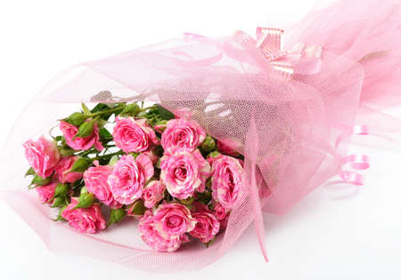 Bouquet of pink roses on a white background. Stock Photo