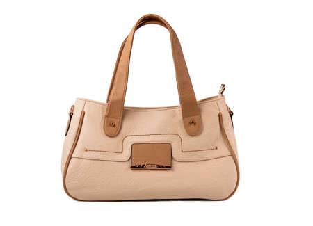 Beige female bag on a white background.