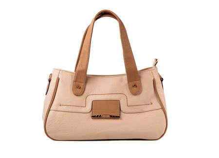Beige female bag on a white background.