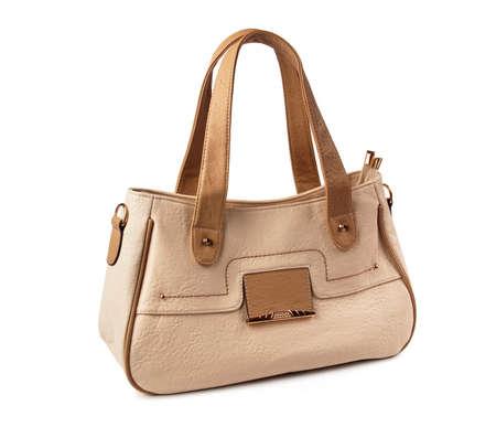 Beige female bag on a white background