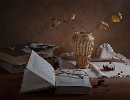 Autumn still-life with a book. Stock Photo