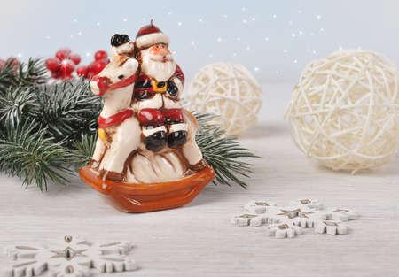 Christmas card with Santa Claus. Stock Photo