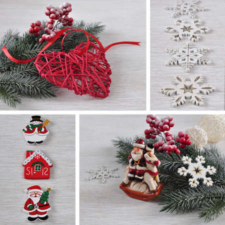 Christmas collage of four pictures. Stock Photo