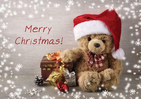 Christmas background with teddy bear. Stock Photo