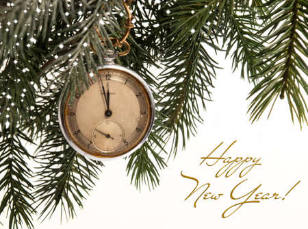 Christmas card with clock and text.