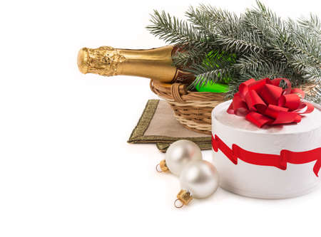 Christmas still life with champagne.