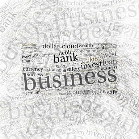 oncept: Word cloud concept illustration of business on white background Stock Photo