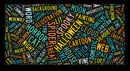 Word cloud concept illustration of halloween isolated on black illustration