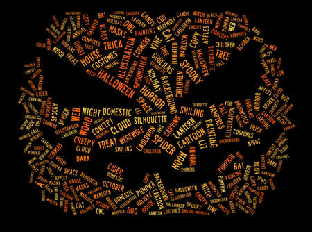 Word cloud concept illustration of halloween in shape of pumpkin isolated on black Stock Photo