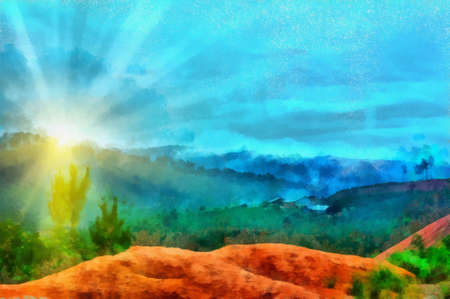 Sunny hill background Stock Photo
