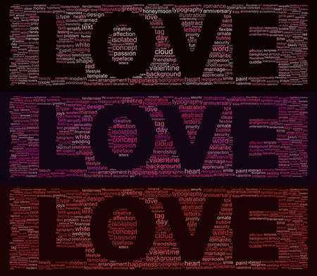 triptych: Word cloud concept illustration of love in shape of triptych isolated on black