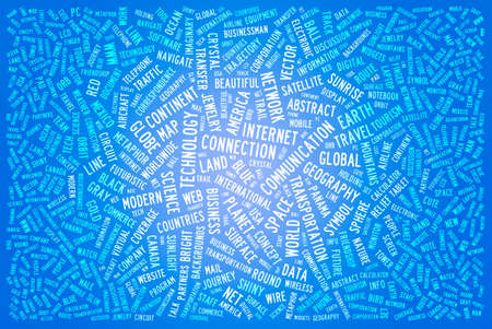 oncept: Word cloud concept illustration of international on blue background Stock Photo