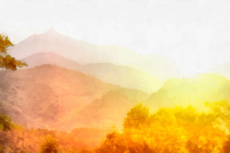 Digital watercolor background of picturesque asian landscape Stock Photo