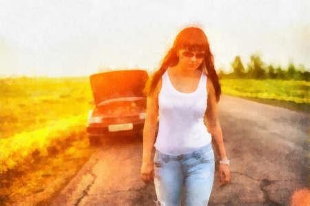 brunete: Digital watercolor bright background of girl leaving broken car Stock Photo
