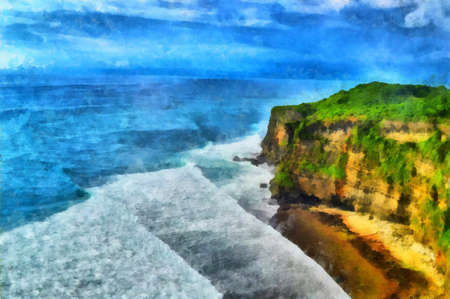 promenade: Digital watercolor colorful natural background