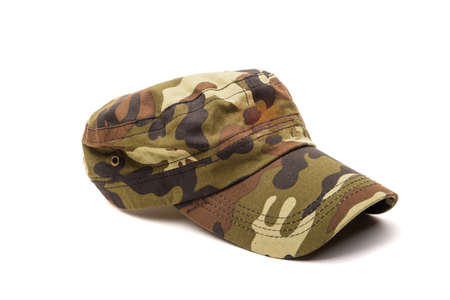 Camouflage cap close-up isolated on white