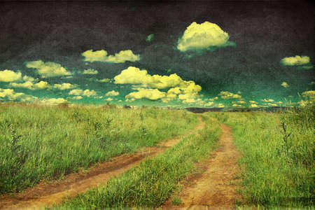 Peaceful rural landscape with country road, retro styled photo photo