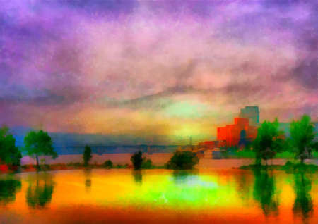 This image was created as digital imitation of watercolor painting