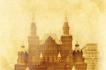 yellowed: Scanned yellowed old retro of Moscow monument Stock Photo