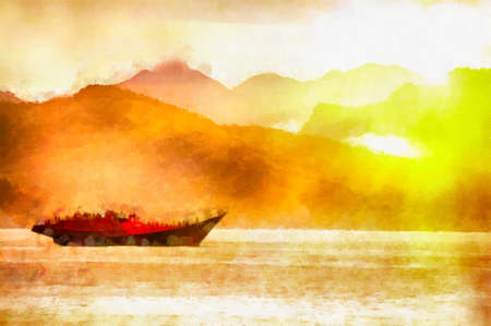 This image was created as digital imitation of watercolor painting on textured canvas