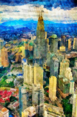 This image was created as digital imitation of painting on textured canvas Stock Photo