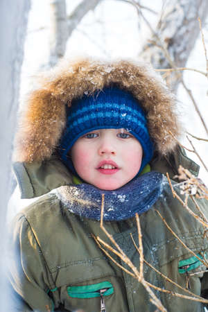 Little boy sitting on a tree on a background of branches in winter