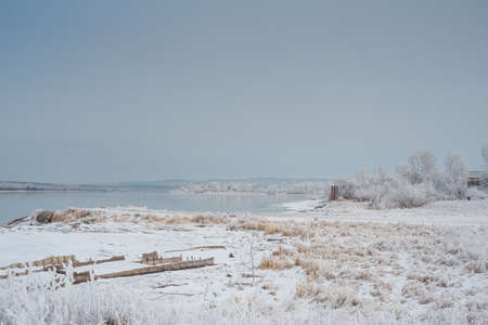 Beautiful winter landscape with river in the Siberian countryside Russia Stock Photo