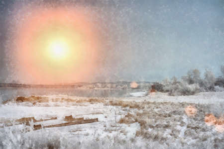Digital structure of painting. Sunset over the winter evening river in Siberia