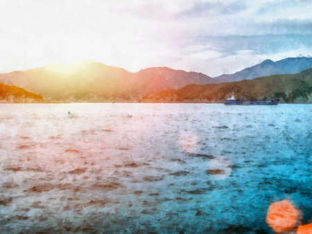 Watercolor landscape. Sailboat at Sea quiet summer Stock Photo