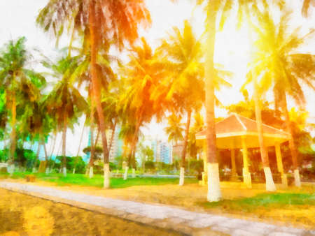 lea: Painting with palm trees and sun Vietnamese expensive