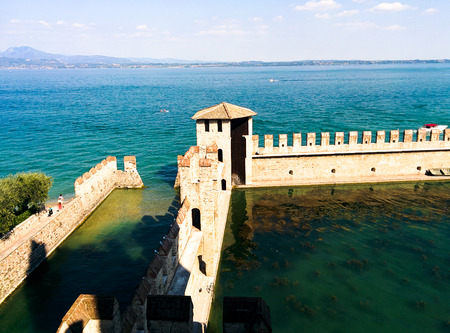 castello: Castle and city of Sirmione in Italy Stock Photo
