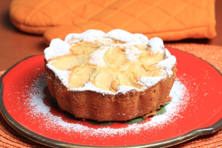 Apple cake, sponge cake with apple slices photo