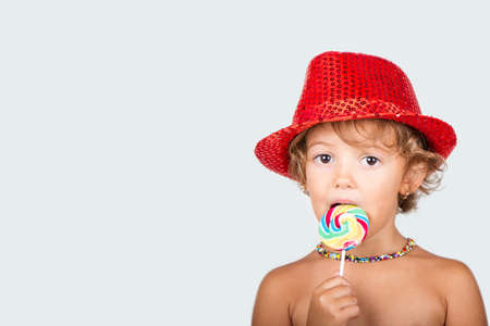 5 year old: 5 year old girl with lollipops Stock Photo