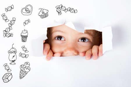 greedy: greedy child Stock Photo