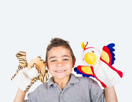 boy to play with puppets