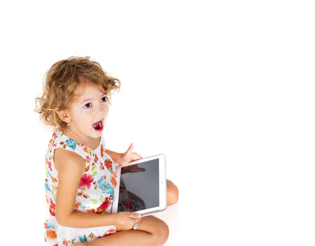 dependance: happy girl with tablet