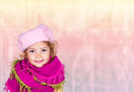 pink hat: beautiful little girl with pink hat Stock Photo