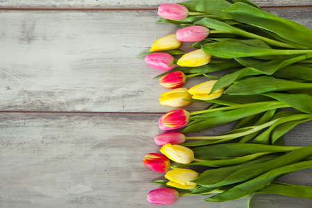 tulips: colorful tulips on the wood table Stock Photo