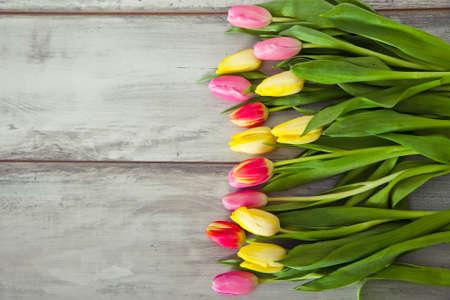 tulip: kolorowe tulipany na stole drewna