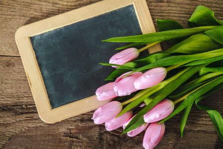 Tulips on the blackboard