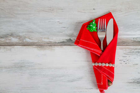 Christmas Holiday Table Setting in the red napkin