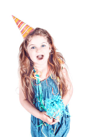 happy little girl with party hat