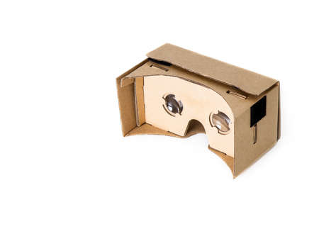 VR glasses cardboard on white.Isolated