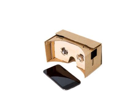 VR glasses cardboard and phone on white .Isolated Imagens