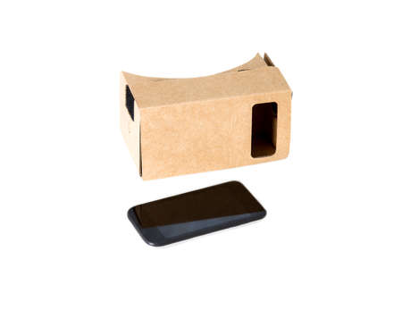 VR glasses cardboard and phone.Isolated