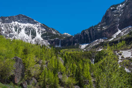 Low angle landscape of aspen trees and snow-dappled mountain side in Telluride, Colorado 版權商用圖片
