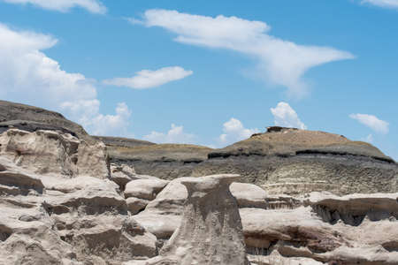 Landscape of grey hoodoos and rock formations at Bisti Badlands in New Mexico