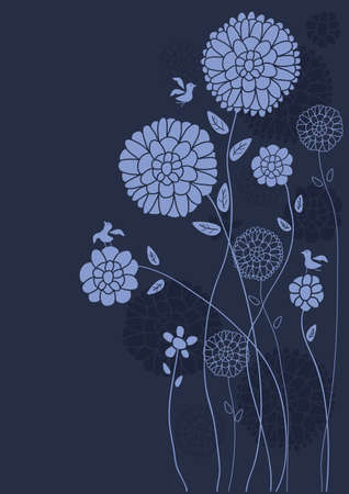 Blue theme wild flower bird card   Vector