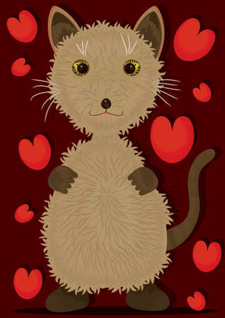 Love brown cat, isolated   Vector